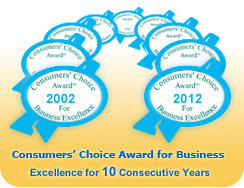Consumers' Choice Award for Business Excellence for 10 Consecutive Years
